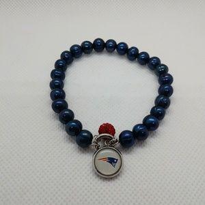 Blue Cultured Pearl Patriots Football Bracelet